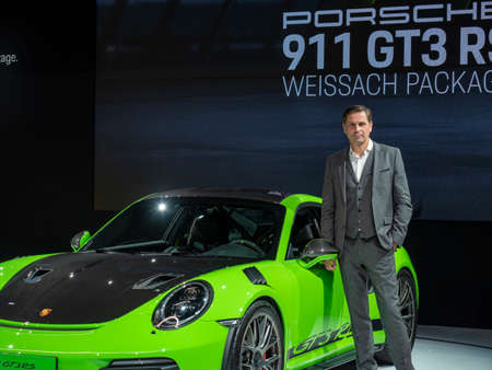 New York, US - March 28, 2018: Klaus Zellmer debuts the new Porsche 911T and GT3 RS during the 2018 New York International Auto Show held at the Jacob K. Javits Convention Center.