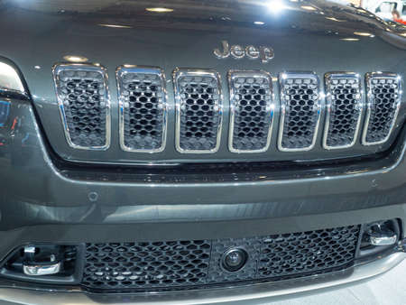 New York, US - March 28, 2018: Jeep Cherokee on display during the 2018 New York International Auto Show held at the Jacob K. Javits Convention Center.