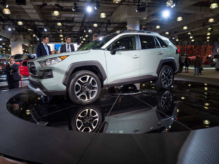New York, US - March 28, 2018: Toyota debuts the new Rav4 during the 2018 New York International Auto Show held at the Jacob K. Javits Convention Center.