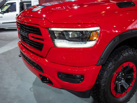 New York, US - March 28, 2018: Mopar modified Ram 1500 on display during the 2018 New York International Auto Show held at the Jacob K. Javits Convention Center.
