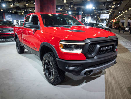 New York, US - March 28, 2018: Ram 1500 Rebel on display during the 2018 New York International Auto Show held at the Jacob K. Javits Convention Center. Redakční