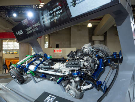 New York, US - March 28, 2018: Ram 1500 chassis and drive train on display during the 2018 New York International Auto Show held at the Jacob K. Javits Convention Center. Editorial