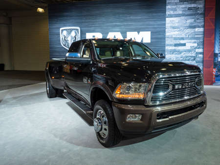 New York, US - March 28, 2018: Ram 3500 Laramie Longhorn on display during the 2018 New York International Auto Show held at the Jacob K. Javits Convention Center.