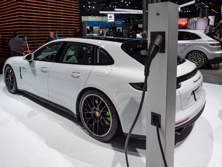 New York, US - March 28, 2018: Porsche Panamera turbo S on display during the 2018 New York International Auto Show held at the Jacob K. Javits Convention Center.