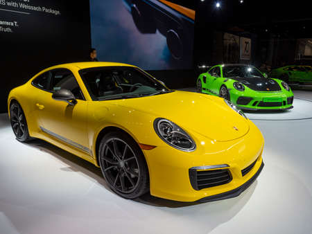 New York, US - March 28, 2018: Porsche 911 T on display during the 2018 New York International Auto Show held at the Jacob K. Javits Convention Center. Editorial