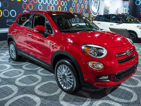 New York, US - March 28, 2018: Fiat 500X on display during the 2018 New York International Auto Show held at the Jacob K. Javits Convention Center.