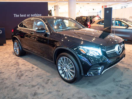 New York, US - March 28, 2018: Mercedes GLC 300 4Matic Coupe on display during the 2018 New York International Auto Show held at the Jacob K. Javits Convention Center.