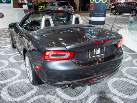 New York, US - March 28, 2018: Fiat 124 Spider on display during the 2018 New York International Auto Show held at the Jacob K. Javits Convention Center. Redakční