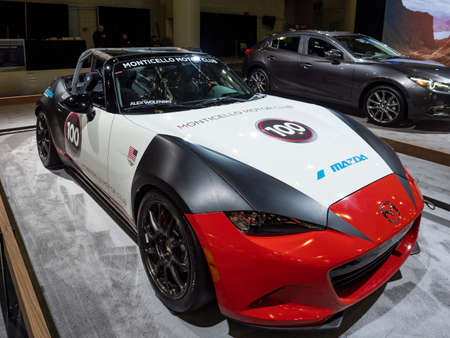 New York, US - March 28, 2018: Mazda MX-5 Cup Car on display during the 2018 New York International Auto Show held at the Jacob K. Javits Convention Center. Editorial