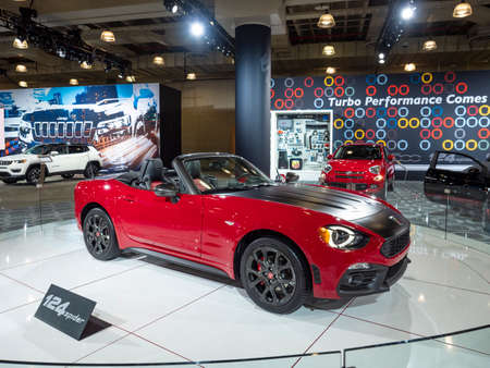New York, US - March 28, 2018: Fiat 124 Spider Abarth on display during the 2018 New York International Auto Show held at the Jacob K. Javits Convention Center. Editorial