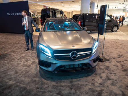 New York, US - March 28, 2018: Mercedes AMG GLA45 on display during the 2018 New York International Auto Show held at the Jacob K. Javits Convention Center.