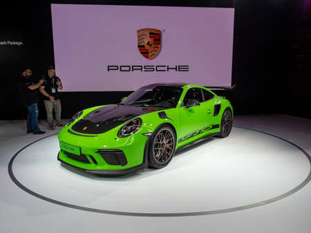 New York, US - March 28, 2018: Porsche 911 GT3 RS Wiessach package on display during the 2018 New York International Auto Show held at the Jacob K. Javits Convention Center. Editorial