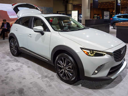 New York, US - March 28, 2018: Mazda CX-3 on display during the 2018 New York International Auto Show held at the Jacob K. Javits Convention Center. Editorial