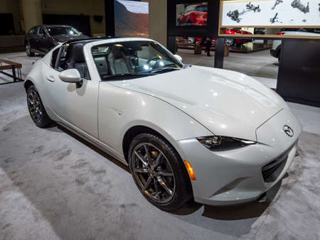 New York, US - March 28, 2018: Mazda MX-5 Miata RF on display during the 2018 New York International Auto Show held at the Jacob K. Javits Convention Center.