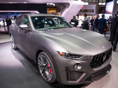 New York, US - March 28, 2018: Maserati Levante Trofeo on display during the 2018 New York International Auto Show held at the Jacob K. Javits Convention Center.