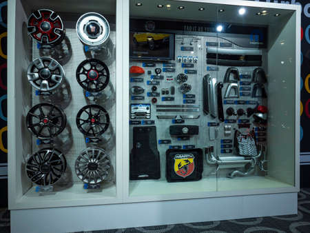 New York, US - March 28, 2018: Mopar parts display for Fiat on display during the 2018 New York International Auto Show held at the Jacob K. Javits Convention Center.