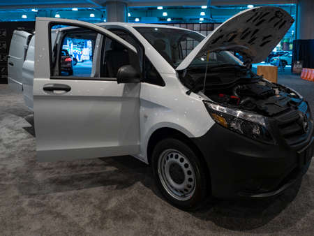 New York, US - March 28, 2018: Mercedes Metris on display during the 2018 New York International Auto Show held at the Jacob K. Javits Convention Center.