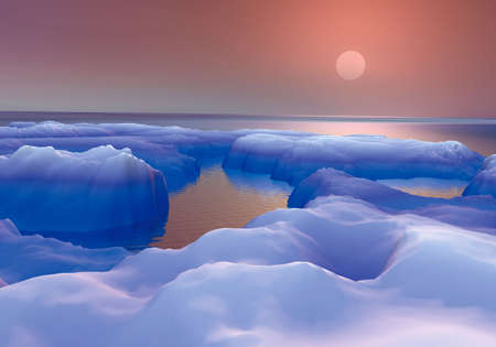 ice floes: Digital design 3D rendered with Photographic realism, Post Producci�n (retouch, ended, adjustments of colors and contrasts) using Edition images Software Stock Photo