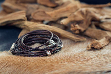 Close-up of a leather fashion bracelet for men Stok Fotoğraf