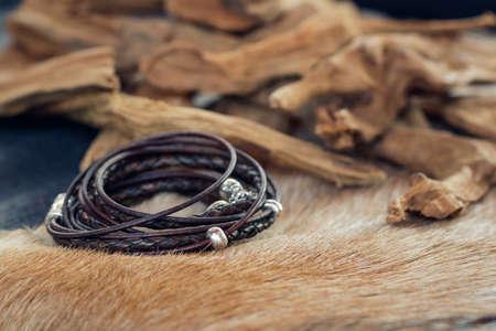 Close-up of a leather fashion bracelet for men Banco de Imagens