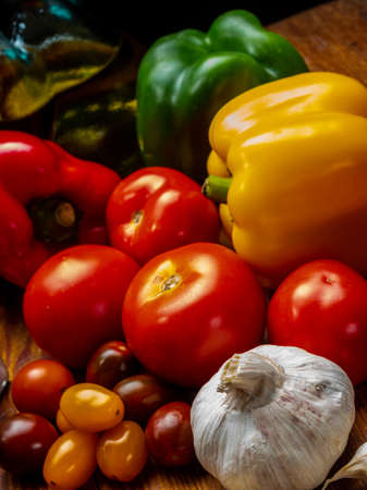 Still life of vegetables, peppers, tomatoes and garlic