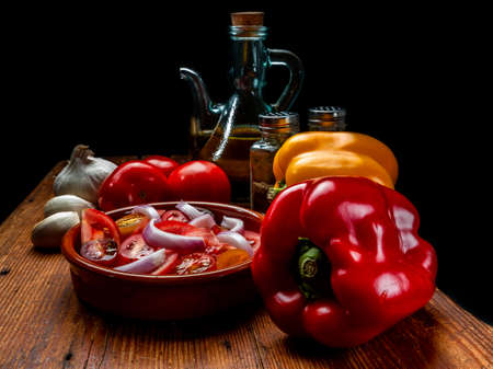 Tomato, onion and olive oil salad