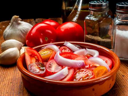 Tomato, onion and olive oil salad Banco de Imagens