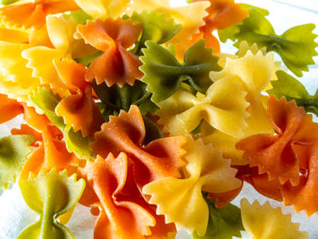Still life of hard pasta, typical Italian food made from wheat flour, sometimes with the addition of eggs or vegetables.
