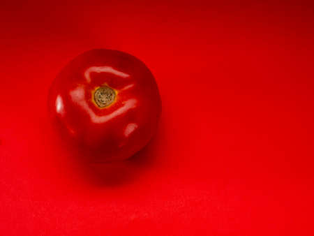 Tomato with red background with space for text Foto de archivo