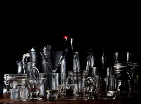 Group of empty transparent glass jars, cups and containers