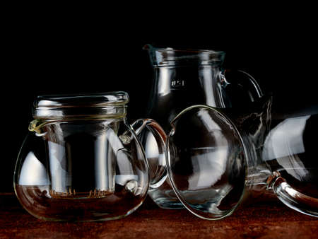 Group of transparent glass jars to contain liquids