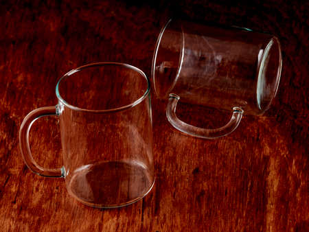 Silhouettes of a group of empty crystal glasses