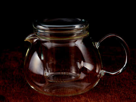 The contours of an empty glass teapot