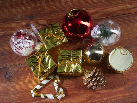 Christmas composition. Gifts, Christmas decorations, winter, new year concept and Christmas.