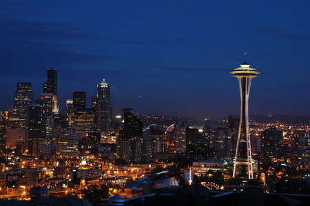 Seattles Downtown and Space Needle at Night photo