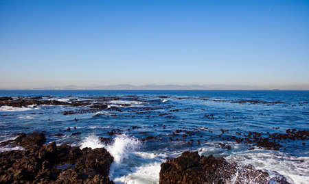 robben island: Waves crashing off Robben Island, Cape Town, South Africa Stock Photo