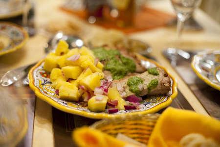 Hawaiian Style Pork Roast with Pineapple Slices, Served Stock Photo
