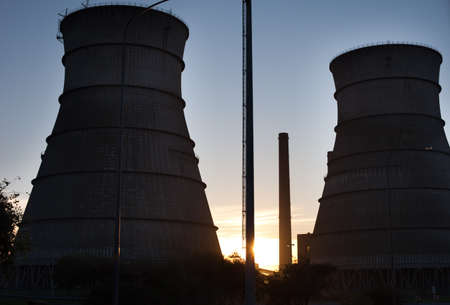nuke plant: Nuclear reactor cooling towers, Cape Town, South Africa Stock Photo