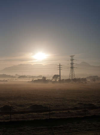 Fields and power lines near Cape Town, South Africa