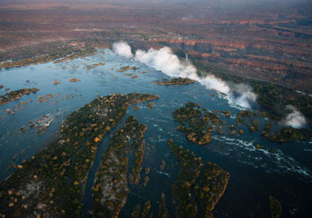 ecotourism: Victoria Falls from the air in the afternoon