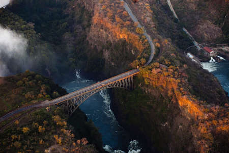 Bridge over the Zambezi River Gorge from the air Stock Photo