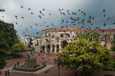 Doves flying over the main square in Santo Domingo, Dominican Republic