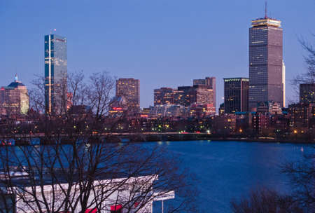 Bostons Back Bay skyline and Charles River at dusk photo
