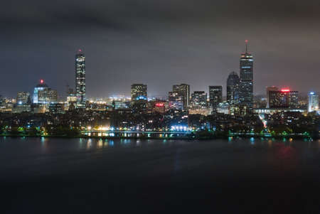 Aerial view of Boston's Back Bay skyline at night photo