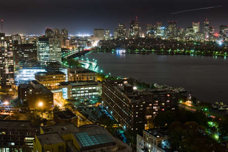Aerial view of Bostons Back Bay skyline at night photo