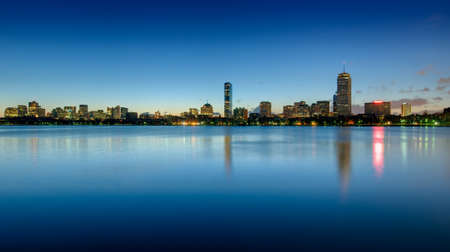 Skyline of Bostons Back Bay area seen at dawn Stock Photo