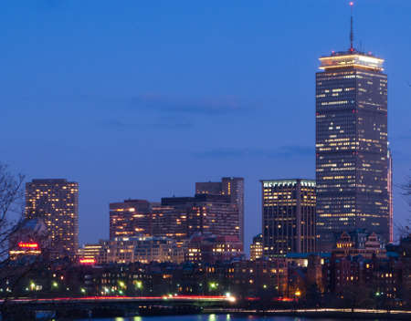 Boston's Back Bay skyline and Charles River at dusk photo