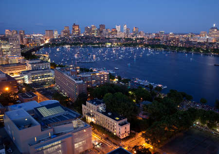 Aerial view of Cambridge and Bostons Back Bay