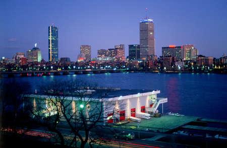 MIT's Pierce Boathouse and Boston's Back Bay Stock Photo - 16125763