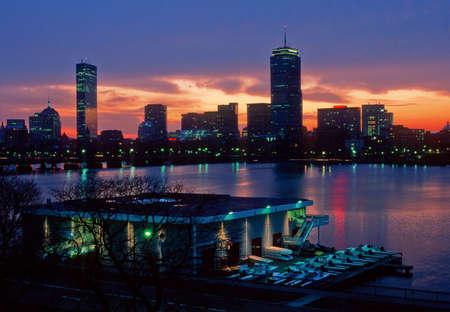 durchstechen: MIT Pierce Boathouse und Boston Back Bay Lizenzfreie Bilder